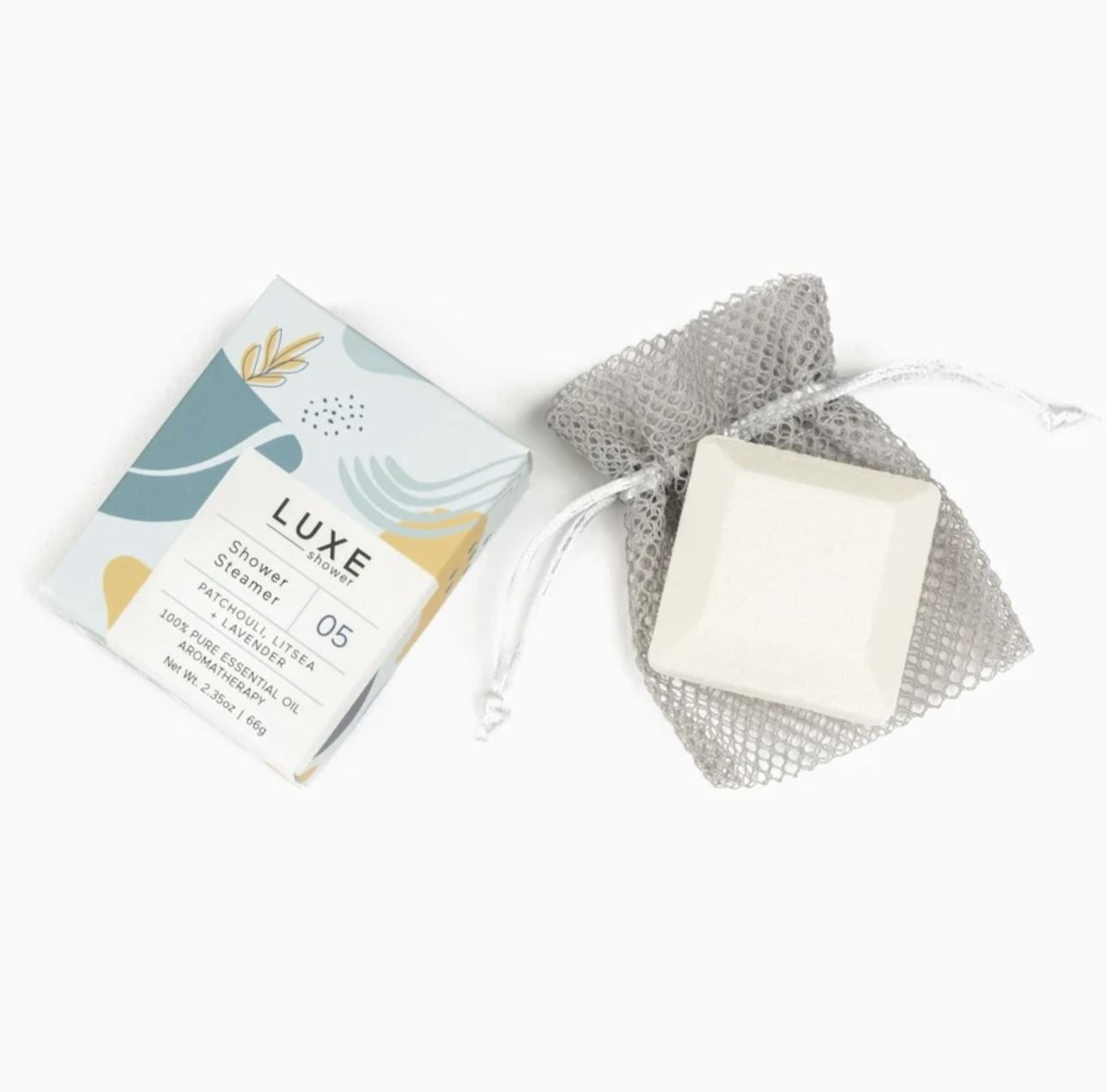 Transform your shower into a one-of-a-kind aromatherapy experience that will leave you feeling refreshed and reset. This Patchouli, Litsea & Lavender shower steamer from Cait + Co with 100% pure essential oils will relax your body, mind, and soul. Your shower will never be the same again!   Lasts for approximately 2-3 showers