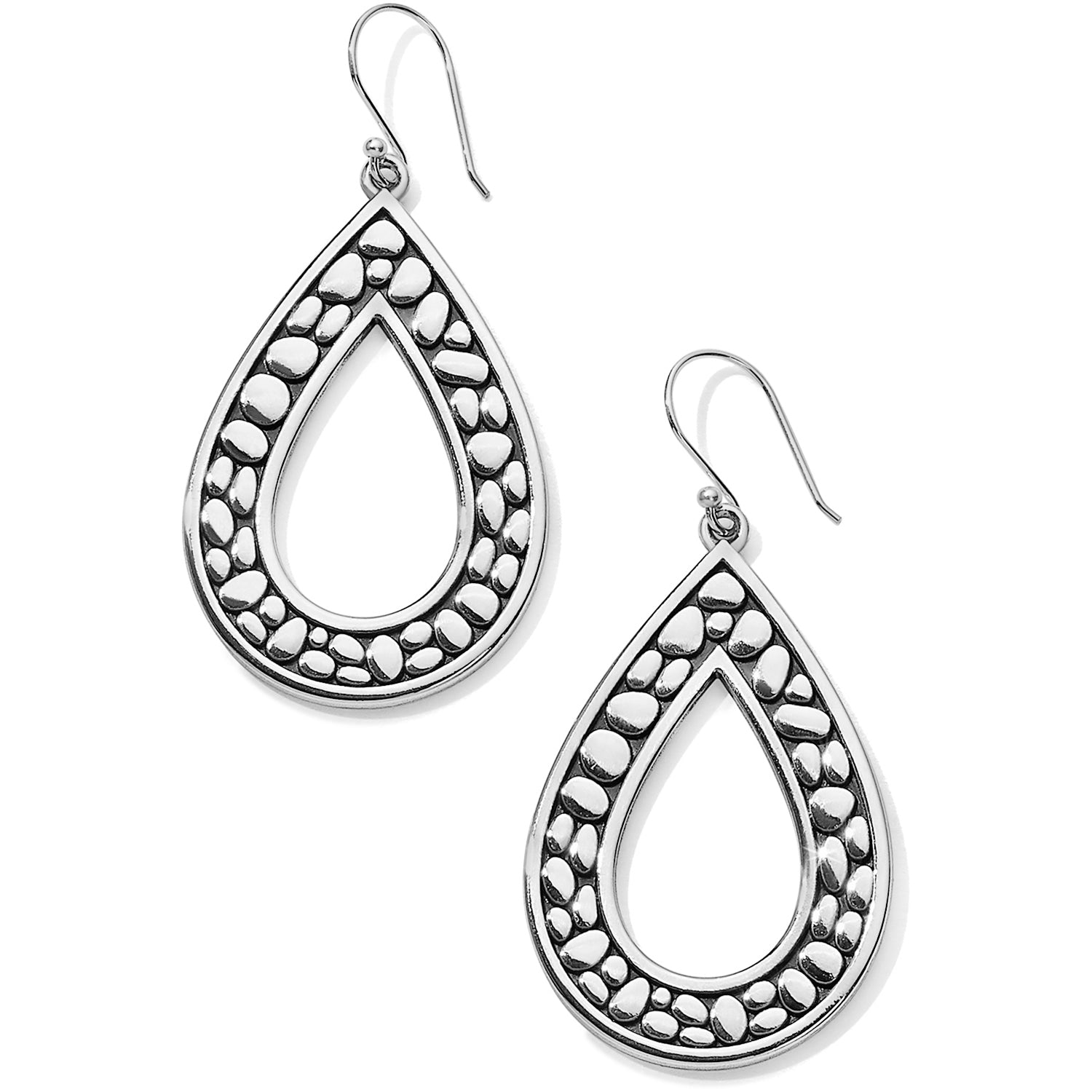 "Brighton Pebble Open Teardrop Reversible Earrings are enhanced with their Pebble motif, lending an organic feel to your look. Width: 1 1/8"" Type: French Wire Drop: 1 3/4"" Finish: Silver plated"