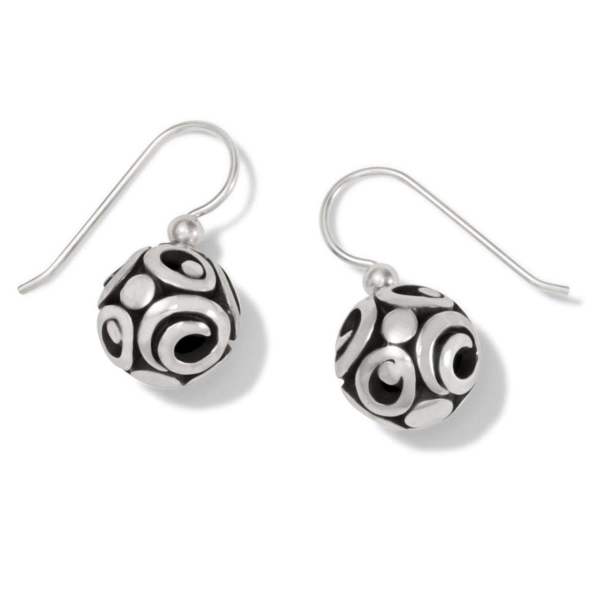 "These Brighton Contempo Sphere French Wire Earrings a flattering silhouette for any face shape. Modern scrolls encircle the spheres on these earrings inspired by the silver jewelry artisanship of Taxco, Mexico.   Width: 1/2"" Type: French Wire Drop: 1/2"" Finish: Silver plated"