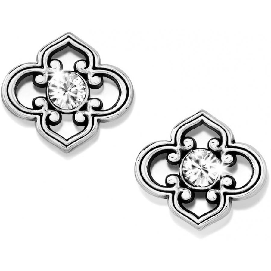 Brighton Jewelry Toledo Post Earrings. Complementing the Toledo Collection, these elegantly shaped earrings, each embellished by a singular Swarovski crystal, are inspired by the arabesque shapes of Spanish architecture.