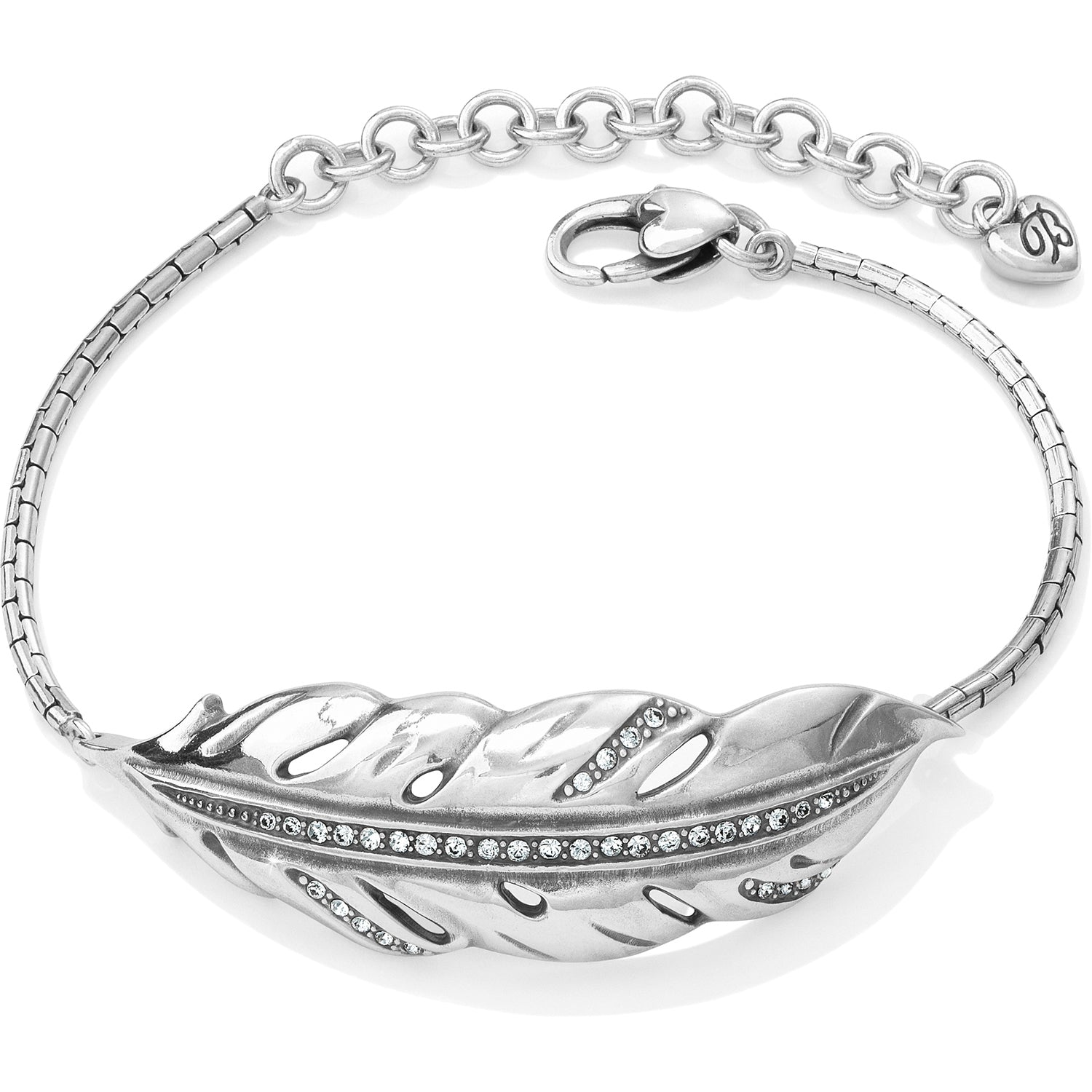 Brighton Jewelry Contempo Ice Feather Bracelet. Contempo Ice, inspired by wintry icicles, takes a lofty turn with this delicately beautiful feather, shimmering with Swarovski.