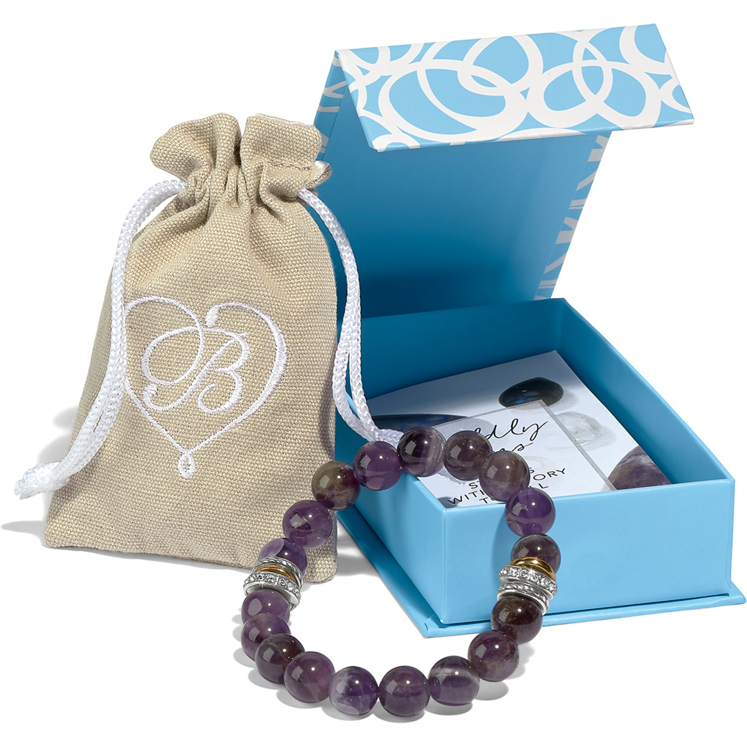 Brighton Jewelry Neptune's Rings Amethyst Stretch Bracelet. Neptune's Rings gets a new twist with this stretch bracelet adorned with stacked rings. In semi-precious amethyst, it symbolizes spiritual contentment.