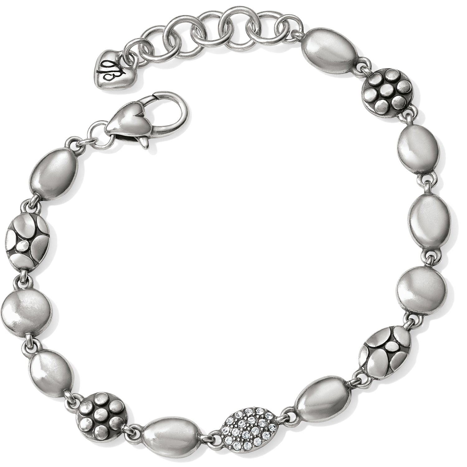 "A mix of textures, including polished silver, sparkling Swarovski and pebble, combine for visual interest on this Brighton Pebble Mix Bracelet. Width: 5/16"" Closure: Lobster Claw Length: 7 1/2"" - 8 1/2"" Adjustable Material: Swarovski crystal Finish: Silver plated"
