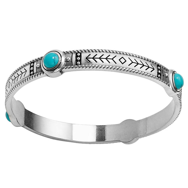 Brighton Southwest Dream Pueblo Dream Bangle. Stack on Southwestern Boho chic with this bangle etched with arrows and embellished with turquoise-hued stones.