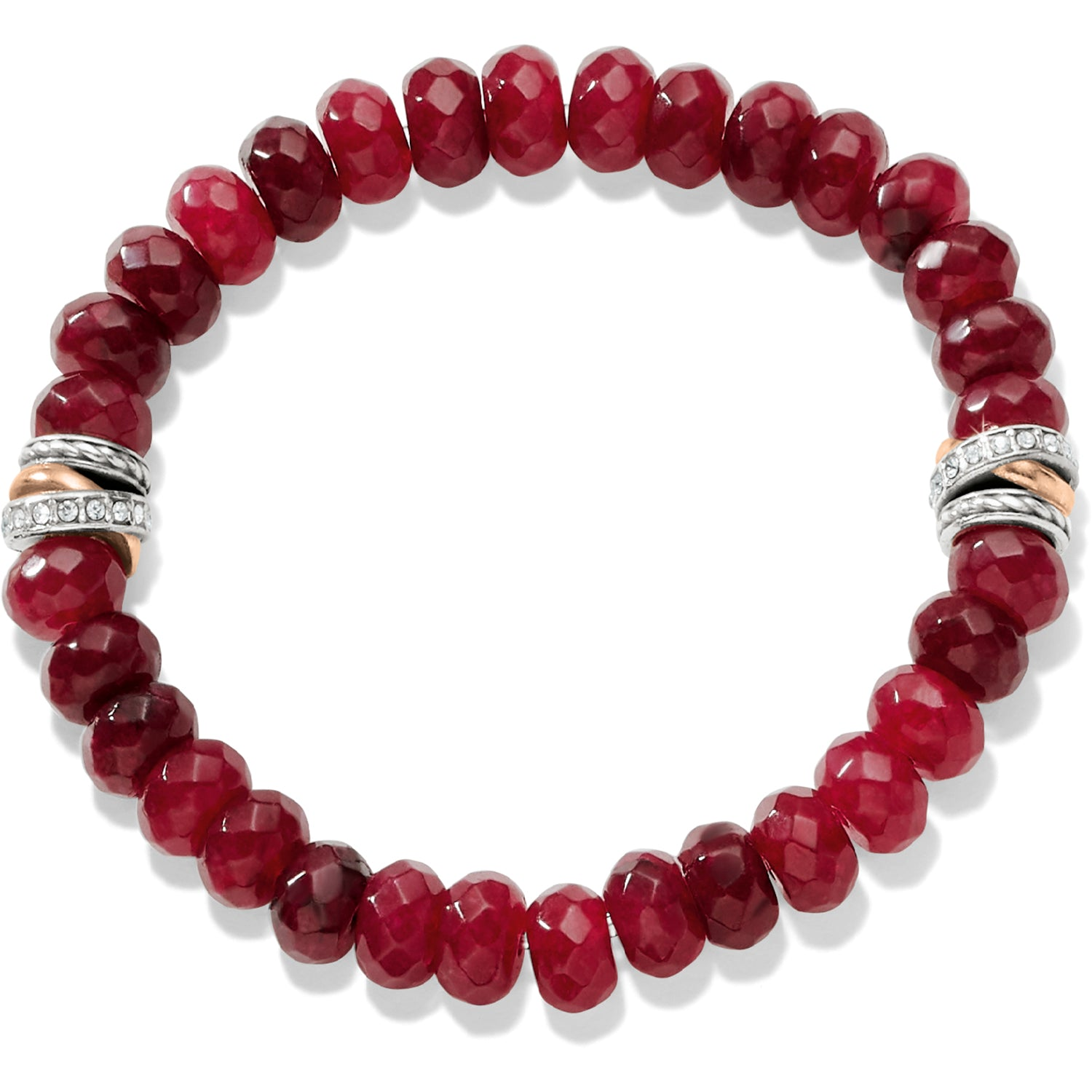 Brighton Jewelry Neptune's Rings Ruby Stretch Bracelet. Symbolizing brotherhood, benevolence and goodwill, faceted ruby chalcedony beads in a red hues encircle your wrist. On both sides, a tumble of Silver plated/Light Rose Gold rings signals sleek sophistication.
