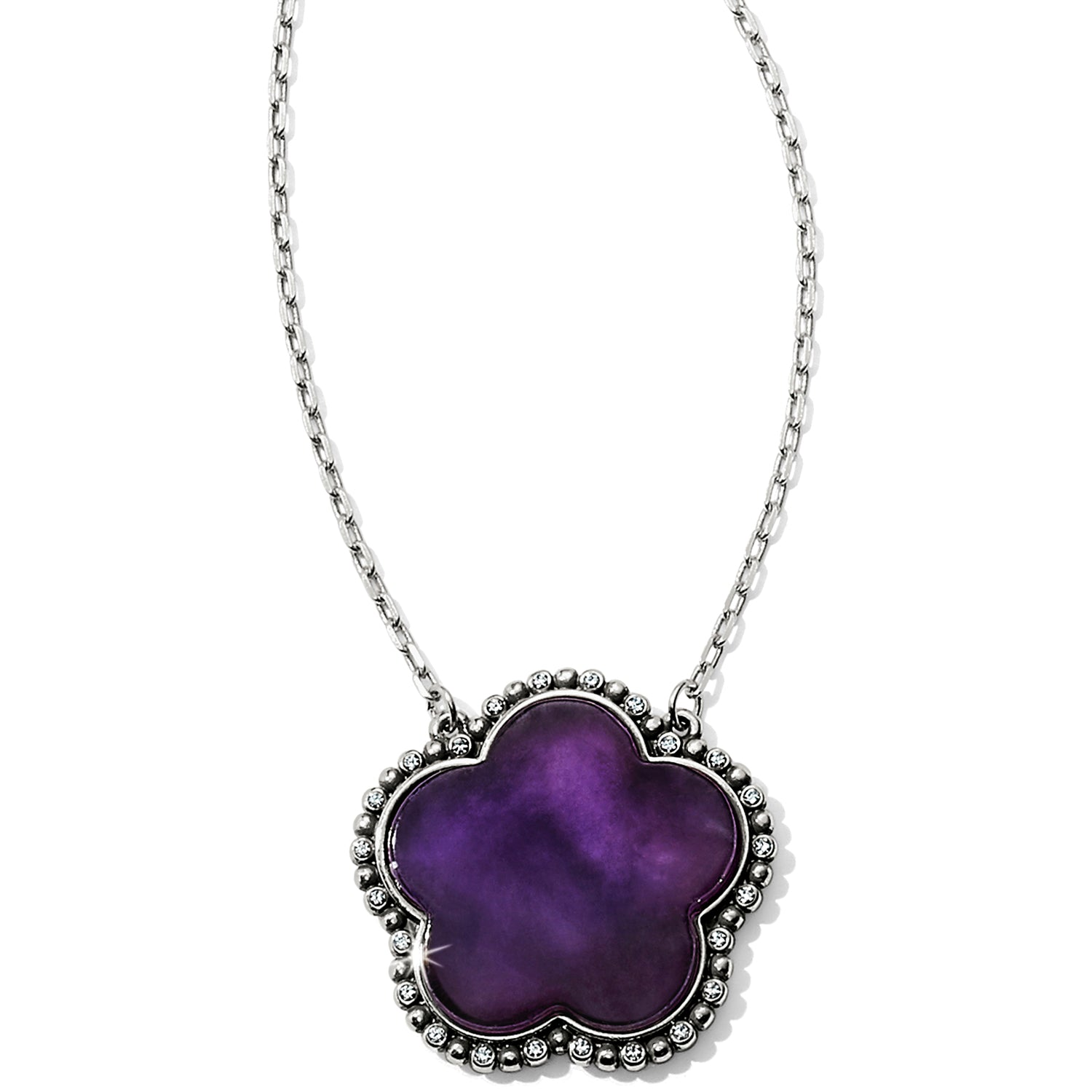 "African amethyst is showcased in this stylized flower, with its natural markings adding to its unique beauty;  Closure: Lobster Claw Length: 18"" - 22"" Adjustable Pendant Drop: 1"" Finish: Silver plated Stones: African amethyst"