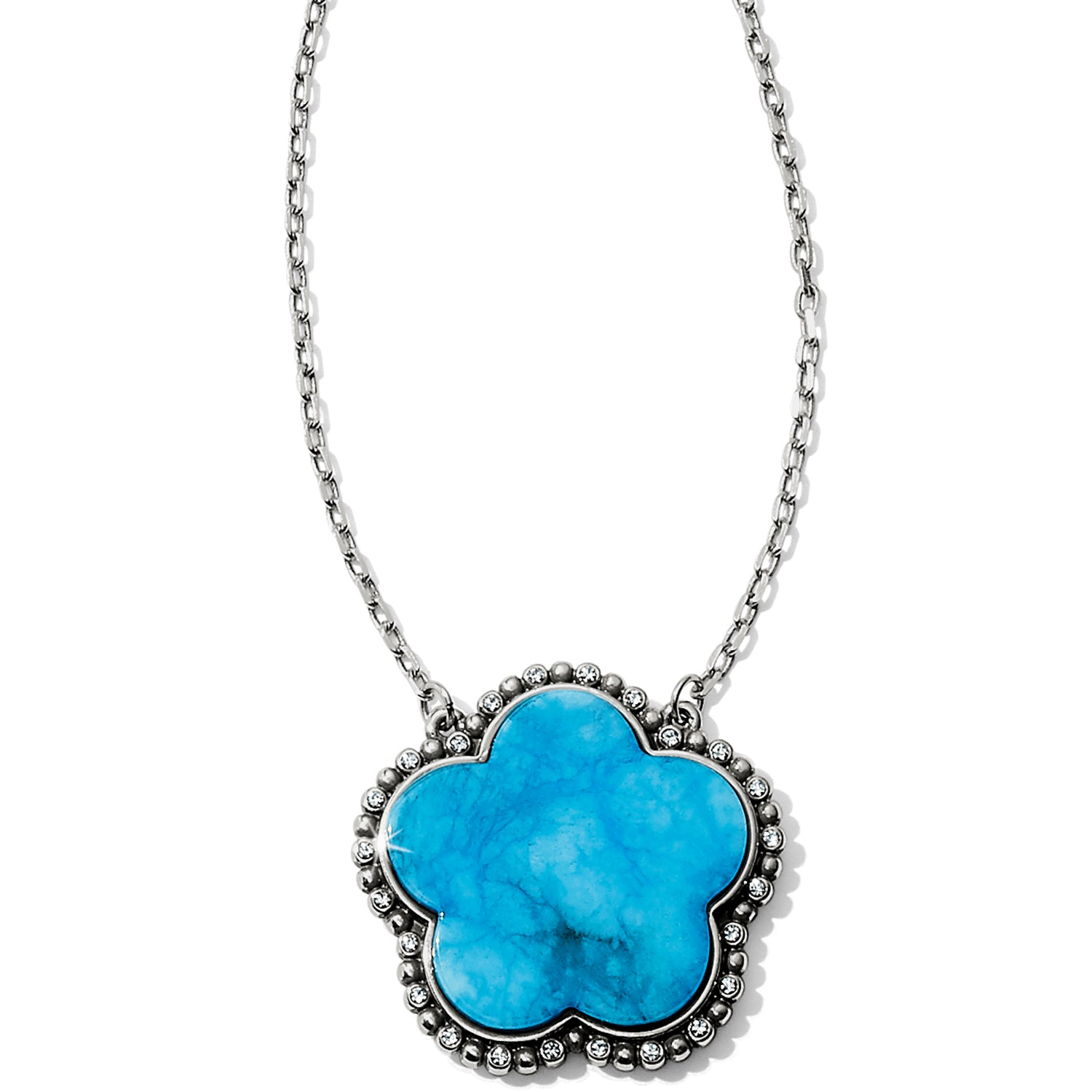 "Turquoise-hued quartz is showcased in this stylized flower, with its natural markings adding to its unique beauty.  Closure: Lobster Claw Length: 18"" - 22"" Adjustable Pendant Drop: 1"" Finish: Silver plated Stones: Turquoise"