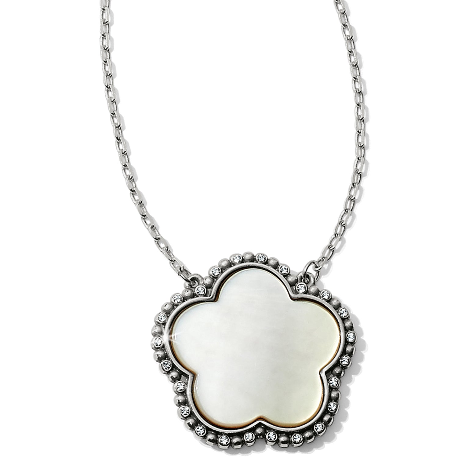 "Mother of Pearl is showcased in this stylized flower, with its natural luminescence adding to its unique beauty.  Closure: Lobster Claw Length: 18"" - 22"" Adjustable Pendant Drop: 1"" Finish: Silver plated Stones: Mother Of Pearl"