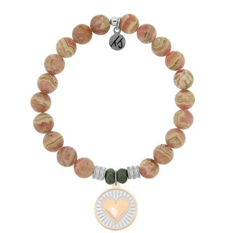 Rhodochrosite Handmade Beaded Bracelet - The stone of self-love, strength & healing. No beauty shines brighter than that of a good heart. This charm is a symbol of love, kindness, compassion and positivity. Wear this bracelet as a reminder to see the beauty in and all around you.  Each beaded Heart of Gold charm bracelet is accented with two Pyrite stones worn to bring good luck and good fortune to the wearer.