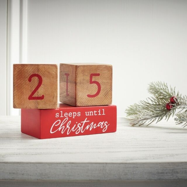 "Remember when Christmas seemed to take forever to get here? Celebrate the season and anticipation of good tidings with big ones and little ones with this ""sleeps until Christmas"" count down block set.   3 piece set  Two printed mango wood blocks with coordinating base turn  Dimensions: 3"" x 4"" assembled"