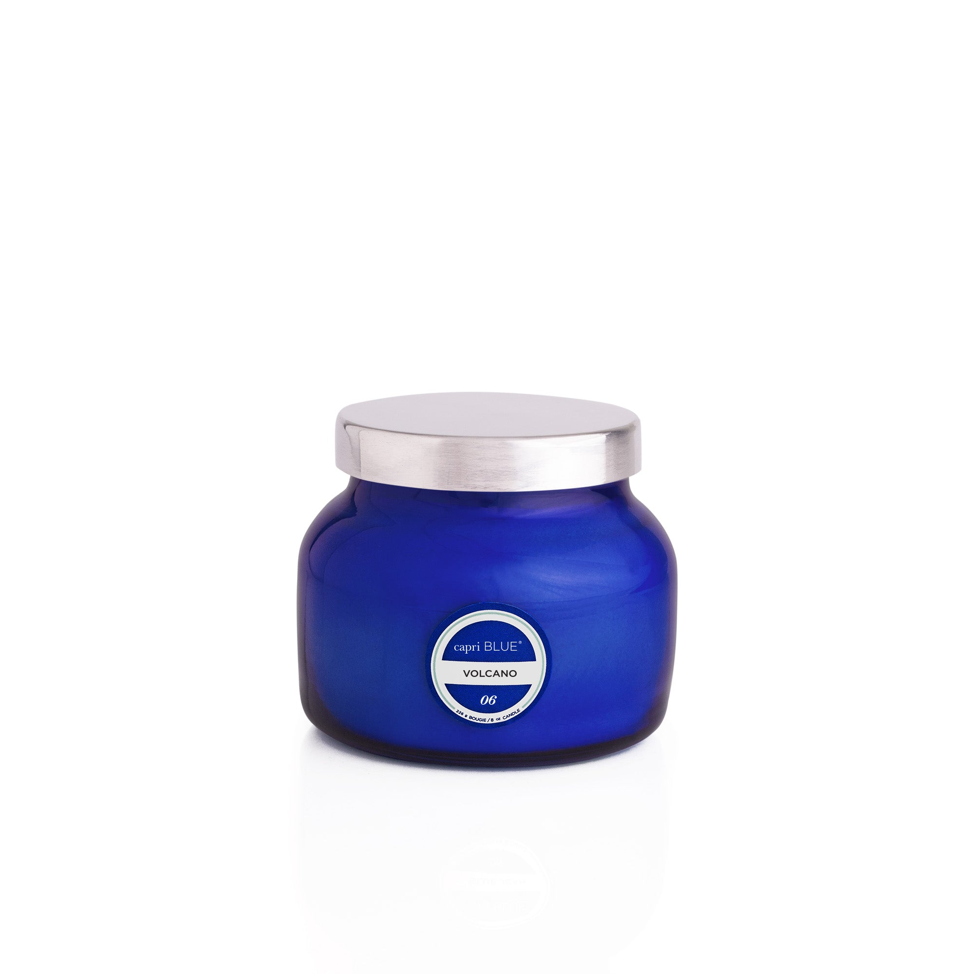 Capri Blue Candle has a signature silhouette and dynamic cobalt blue look. The Volcano scent is an energizing blend of exotic citrus and sugary notes. Feeling like you're in a scented paradise doesn't have to include flying miles away. Volcano Blue Petite Jar, 8 oz.