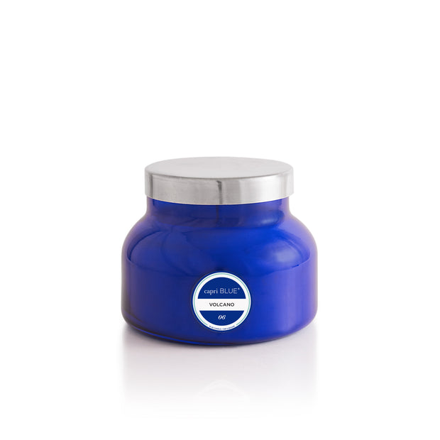 The Capri Blue Volcano scent will fill your home with tropical fruits, sugared oranges, lemons, and limes, redolent with lightly exotic mountain greens.  Burn time approximately 85 hours. 19 oz. Classic Blue glass jar.