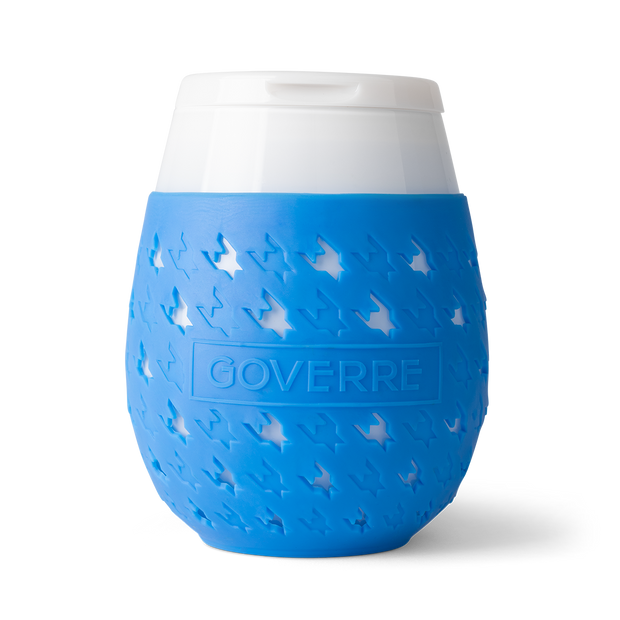 The Goverre Portable Stemless Wine Glass is perfect for pool side, boats, lake side, beaches and more. It's our go-to outdoor wine glass. Why we love it? It's actually made of glass! The silicone sleeve makes it easy to hold and not slip. And the drink-through lid allows you to be on the go! Holds 17oz.