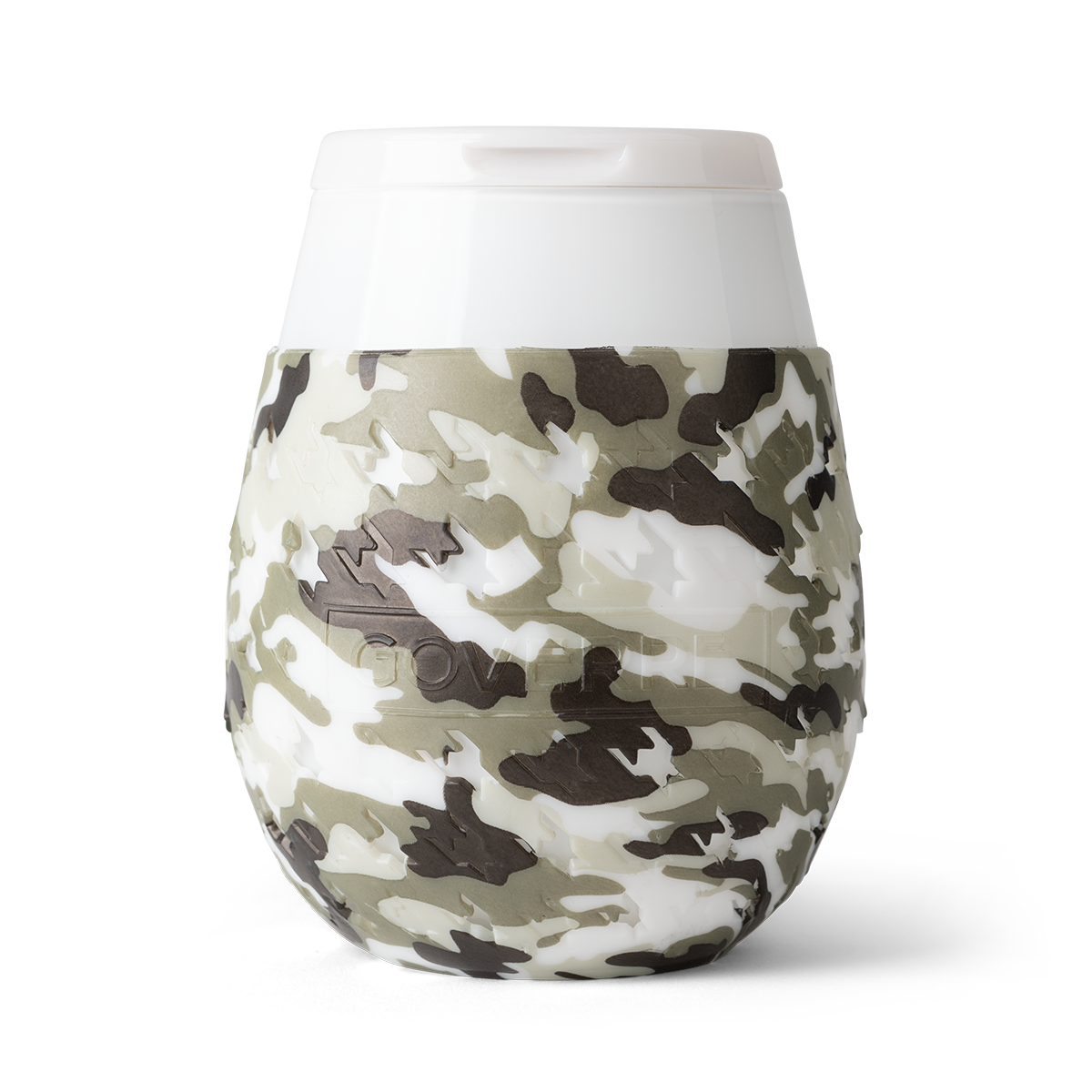 Goverre Stemless Wine Glass in Camo-close up.
