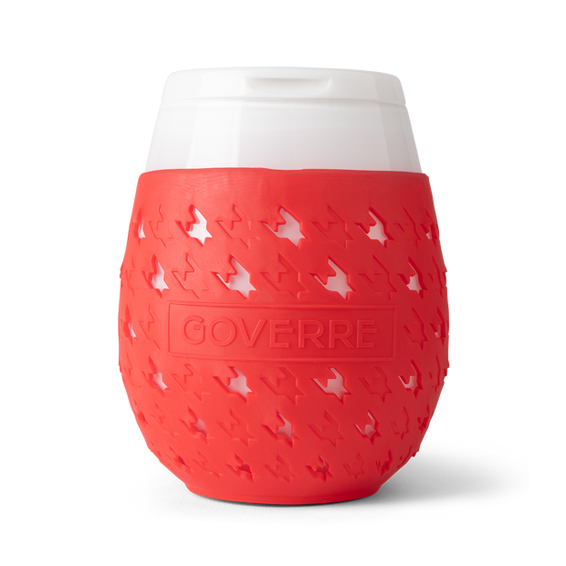 The Goverre Portable Stemless Wine Glass (in Red) is perfect for pool side, boats, lake side, beaches and more. It's our go-to outdoor wine glass. Why we love it? It's actually made of glass! The silicone sleeve makes it easy to hold and not slip. And the drink-through lid allows you to be on the go! Holds 17oz.