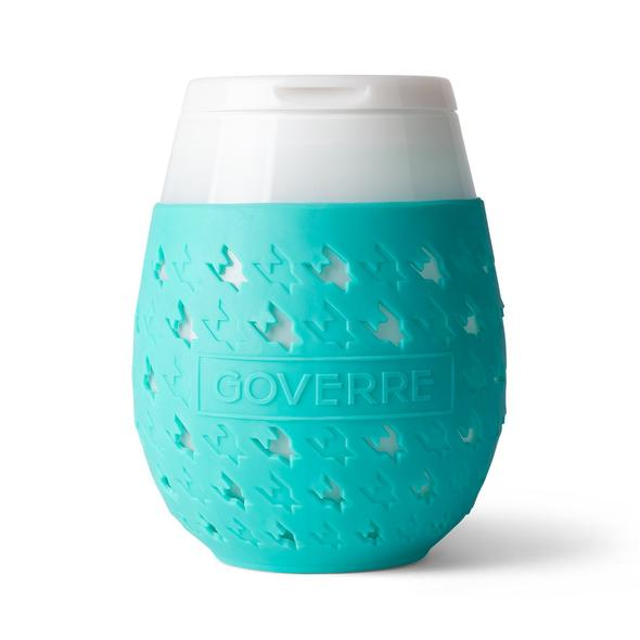 Goverre Stemless Wine Glass in Turquoise-close up.