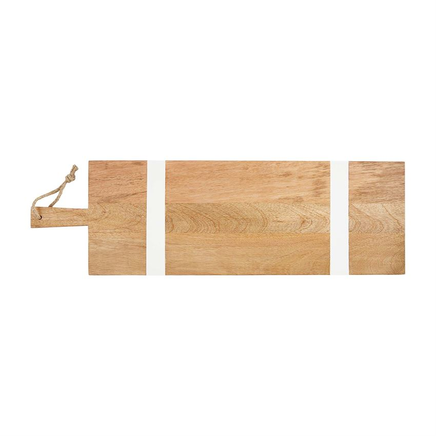 "Perfect for your charcuterie, serve it in style with this Paddle Style Long Wood Serving Board.  Long white-washed and natural mango wood paddle board. 26"" x 8"""