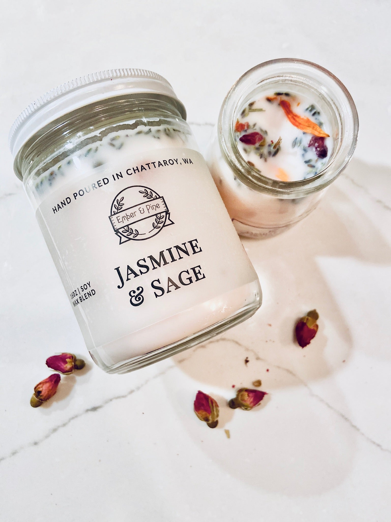 Jasmine & Sage Soy Candle - Ember and Pine Co.