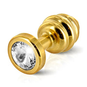 Butt Plug Ribbed Gold 30 mm
