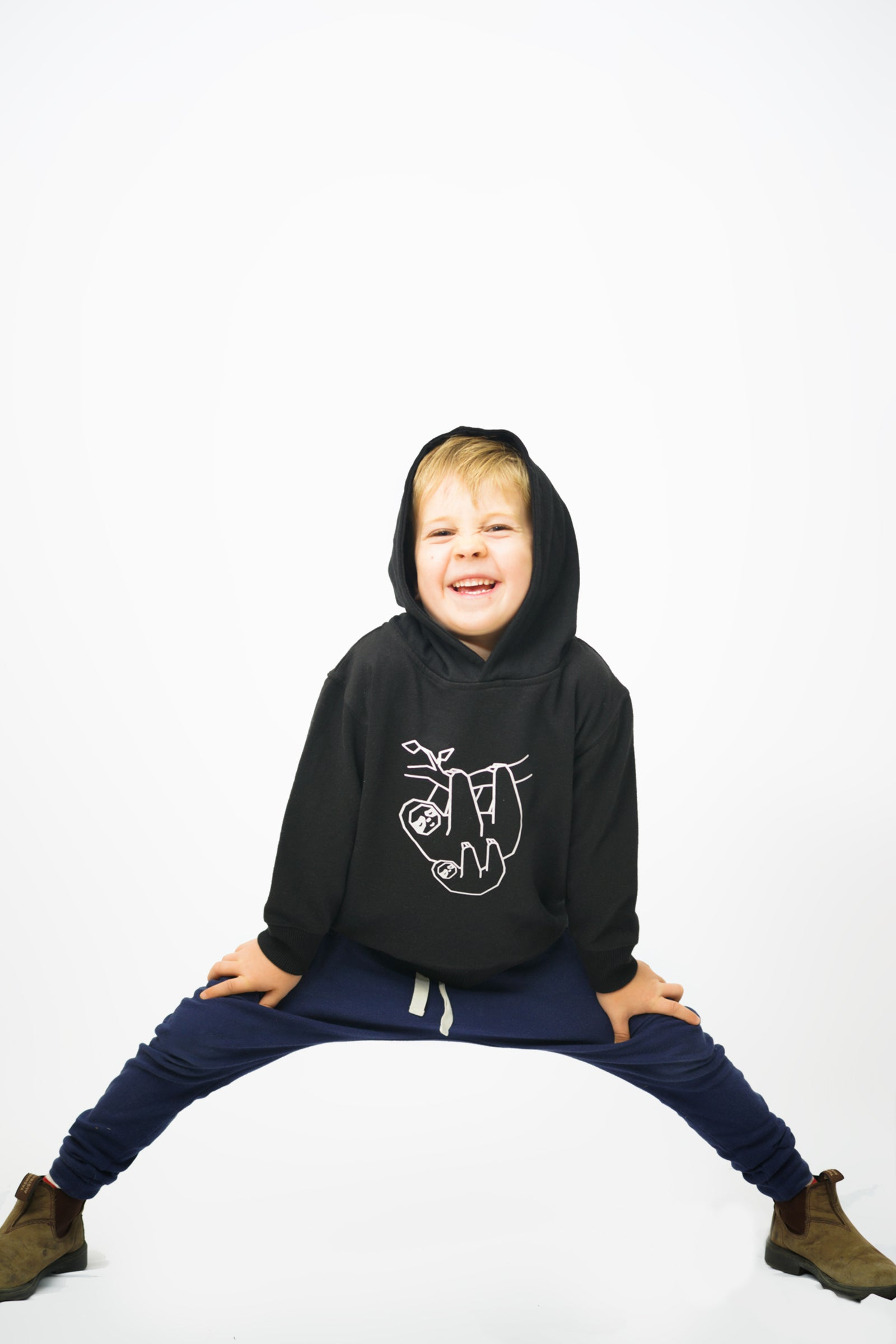Toddler Sloth Hoodie Black
