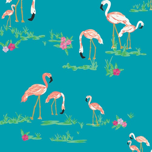 Art Gallery Fabrics Tropical West Palm Flamingo Field Marina Premium Pima Quilting Quilt 100% Cotton Fabric Sold by the Yard New WPA-64502