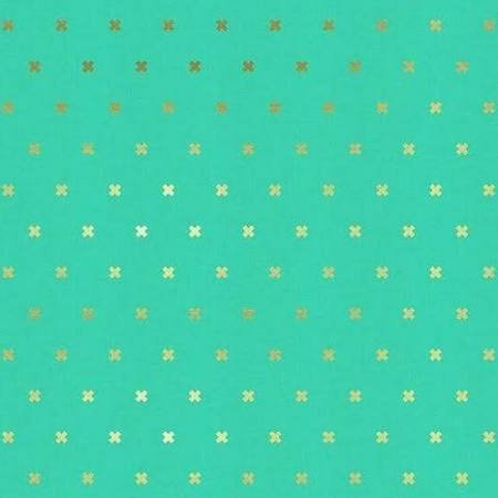 Cotton Steel Basics Fabrics XOXO Mint Quilting Quilt Cotton Sold by Yard Modern Toy Boat Metallic C5001-009