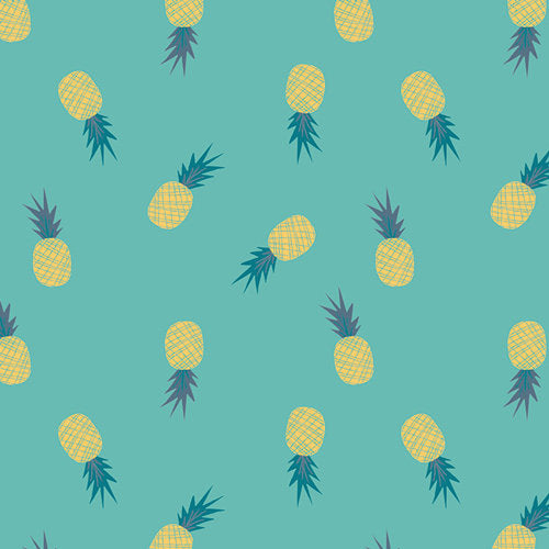 Art Gallery Fabrics Sirena Ananas Aqua Premium Pima Quilting Quilt 100% Cotton Fabric Sold by the Yard Pineapple