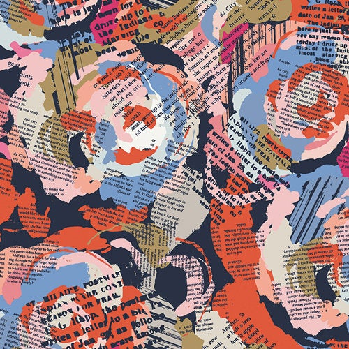 Fusion Art District Roses and & Letters Art Gallery Fabric Premium Quilting Quilt Cotton Sold by Yard FUS-AD-1602 Summer Lightweight
