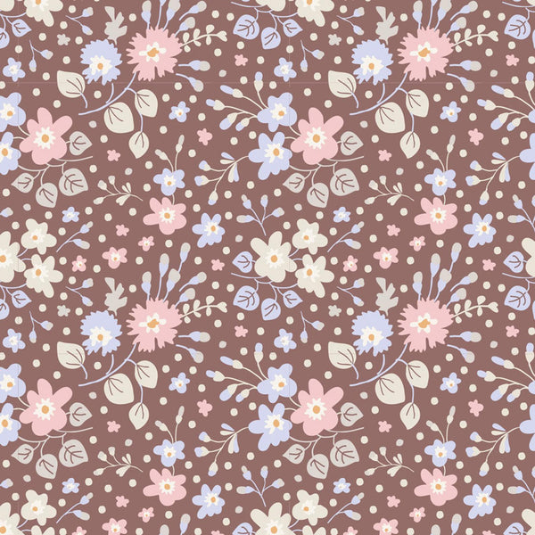 Tilda Flower Confetti Nutmeg Plum Garden Collection European Design 100% Quality Quilting Cotton Sold by the Yard