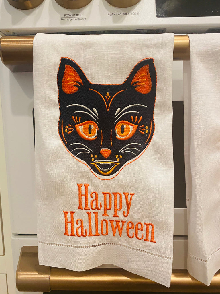 Halloween Linen Holiday Custom Gift Tea Towels Monogrammed Personalized Embroidered
