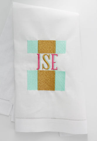 Striped Transitional Linen Holiday Custom Gift Tea Towels Monogrammed Personalized Embroidered