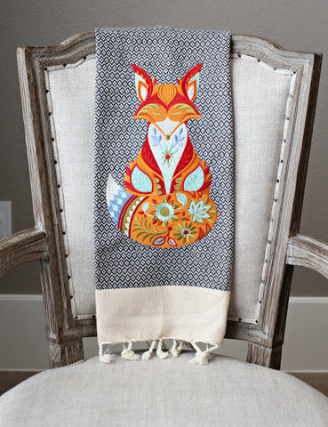 Fox Fall Turkish Linen Holiday Custom Gift Tea Towels Monogrammed Personalized Embroidered