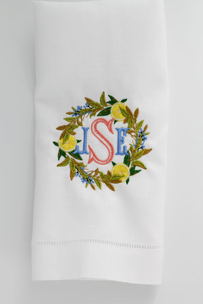 Lemon Wreath Linen Holiday Custom Gift Tea Towels Monogrammed Personalized Embroidered