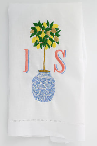 Lemon Tree Chinosserie Linen Holiday Custom Gift Tea Towels Monogrammed Personalized Embroidered