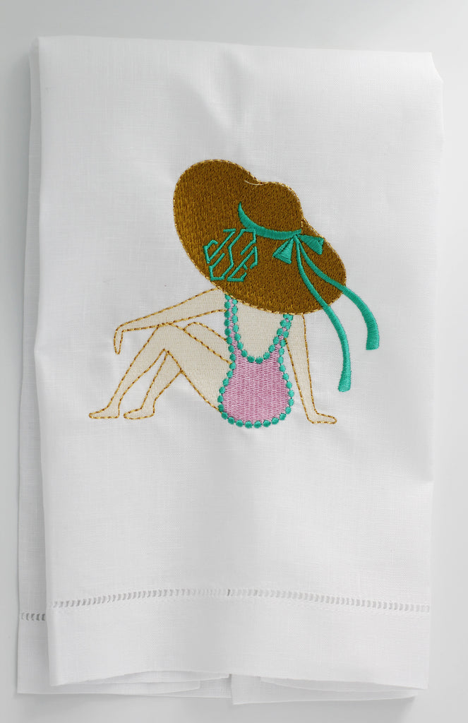 Lady on the Beach Seaside Linen Custom Gift Tea Towels Monogrammed Personalized Embroidered