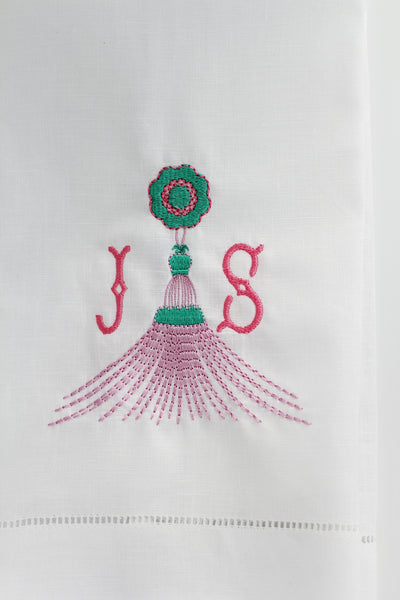 Gypsy Tassel Linen Custom Gift Tea Towels Monogrammed Personalized Embroidered