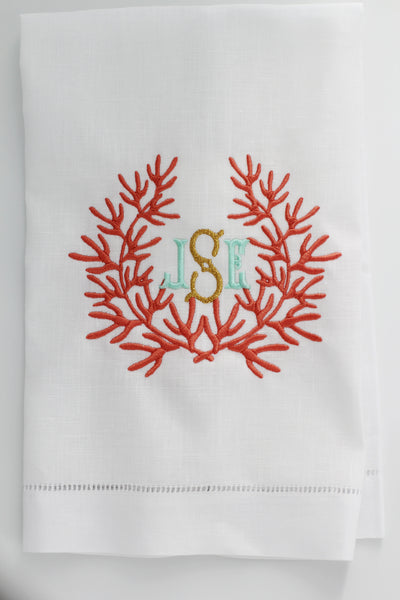 Coral Beach Airbnb Linen Holiday Custom Gift Tea Towels Monogrammed Personalized Embroidered