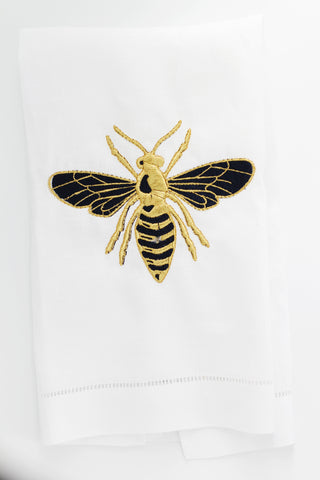 Honey Bee Airbnb Linen Holiday Custom Gift Tea Towels Monogrammed Personalized Embroidered
