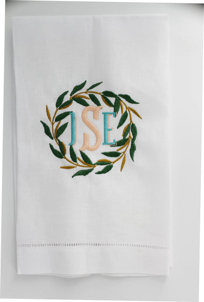 Vintage Farmhouse Eucalyptus Wreath Linen Holiday Custom Gift Tea Towels Monogrammed Personalized Embroidered