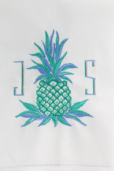 Pineapple Beach Seaside Linen Custom Gift Tea Towels Monogrammed Personalized Embroidered