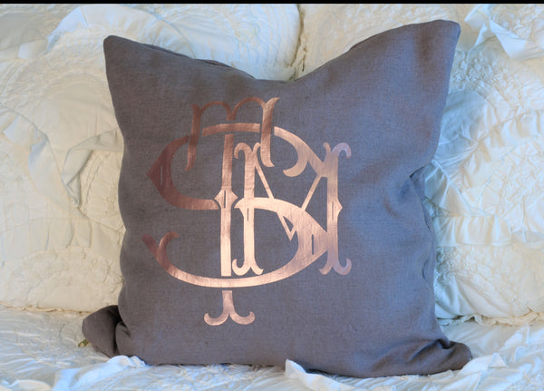 Linen Rose Gold Monogrammed Custom Pillow Cover
