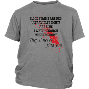 Blood stains are red ultraviolet lights are blue shirt