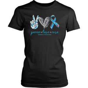 Peace Love Cure Diabetes Awareness TShirt