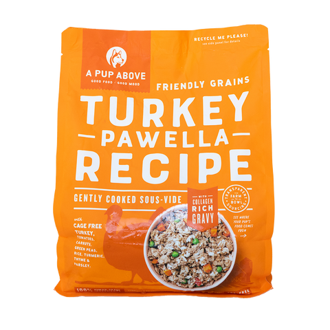 A Pup Above cage free turkey based healthy dog food bag