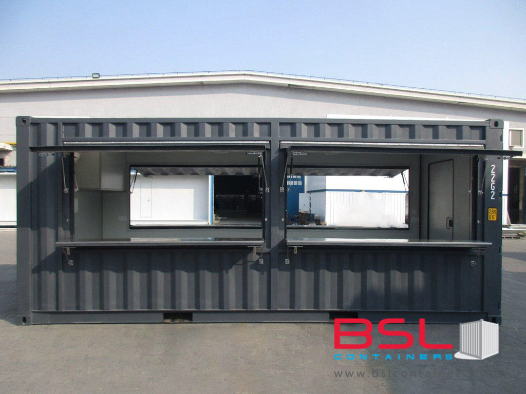 20' New Build ISO Kiosk Containers (Container shop) with electrical installation FOB China CY (20'Kiosk) - eSHOP - BSL CONTAINERS