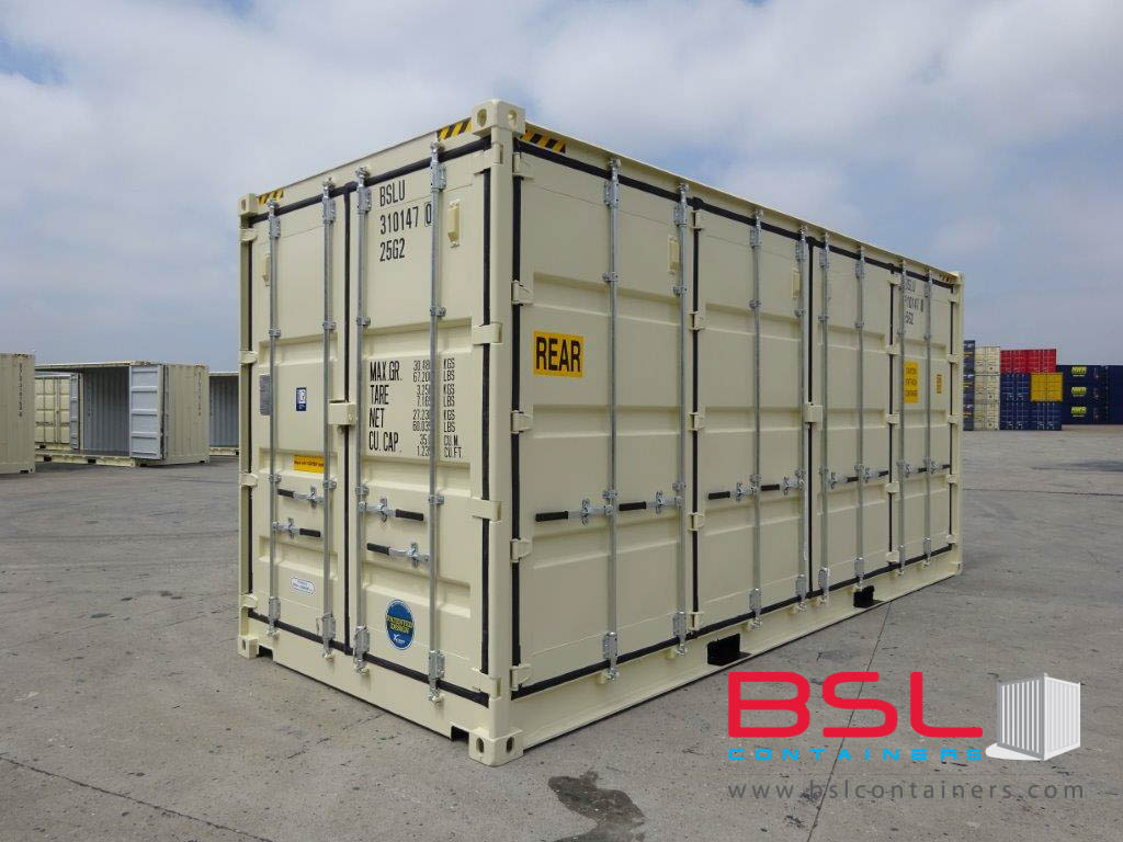 20'HCOS ISO New Build One Trip Shipping Containers in RAL1015 Beige ex Houston - eSHOP - BSL CONTAINERS