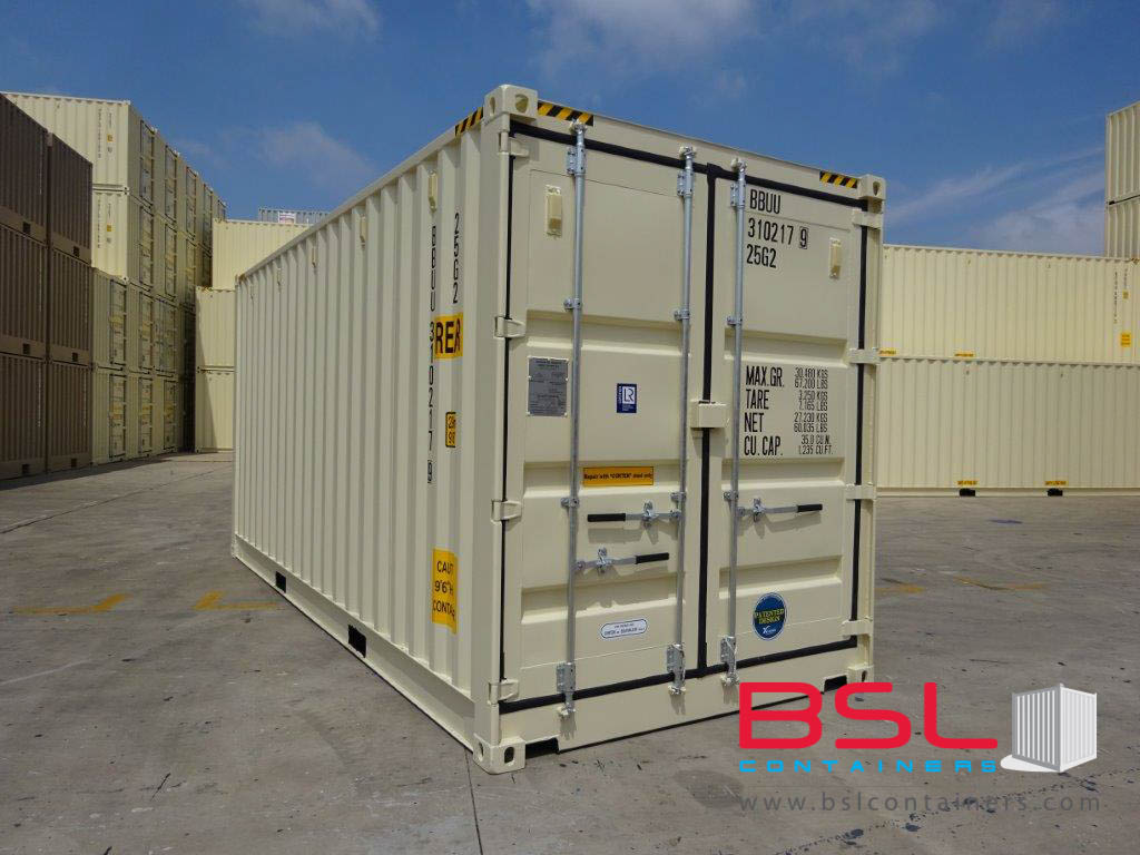 20'HCOS ISO New Build One Trip Shipping Containers in RAL1015 Beige ex New York - eSHOP - BSL CONTAINERS