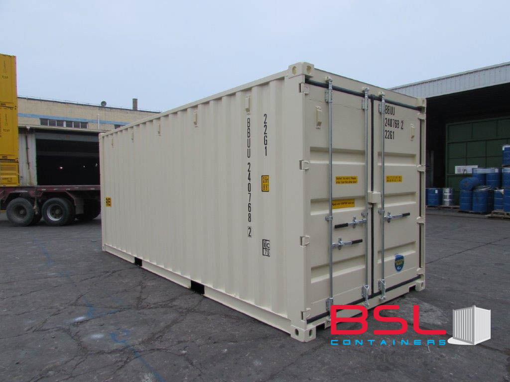 20'DD ISO New Build One Trip Shipping Containers in RAL1015 Beige ex Montreal - eSHOP - BSL CONTAINERS