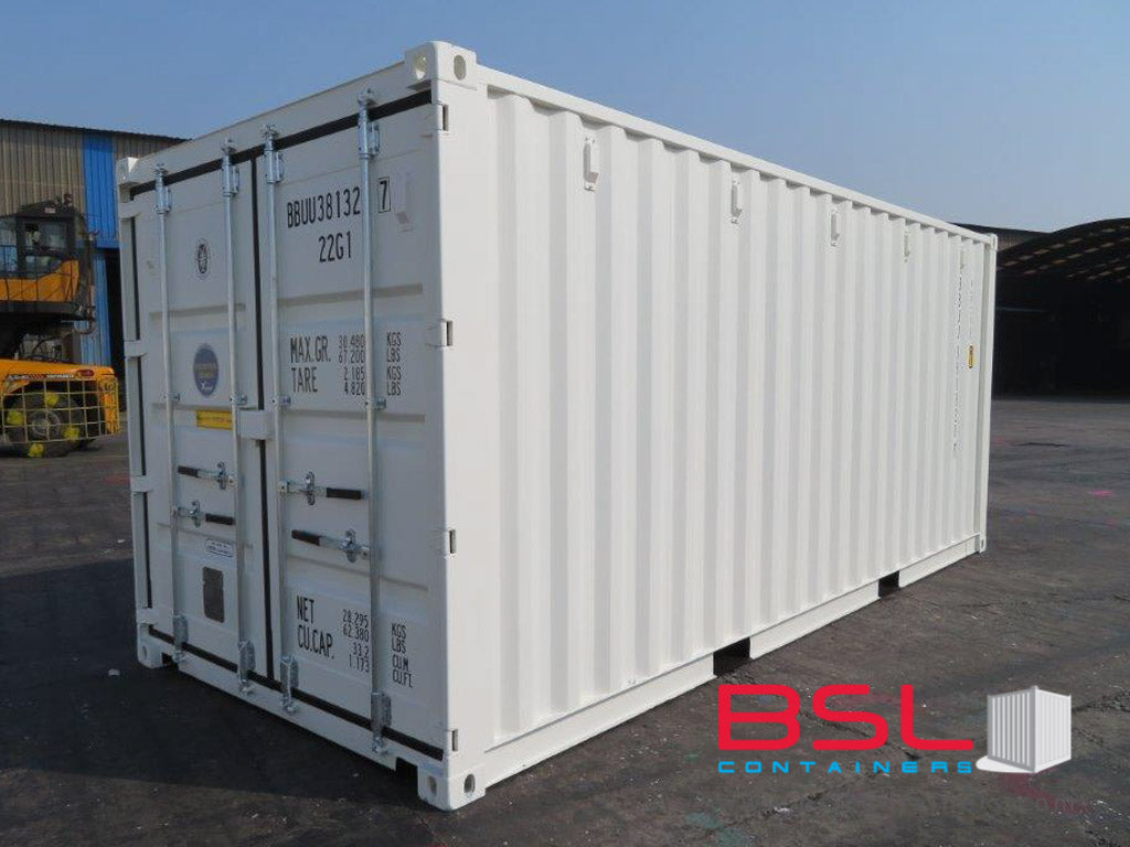 20' ISO New Build One Trip Shipping Containers in RAL9010 White ex Vancouver (20'GP) - eSHOP - BSL CONTAINERS