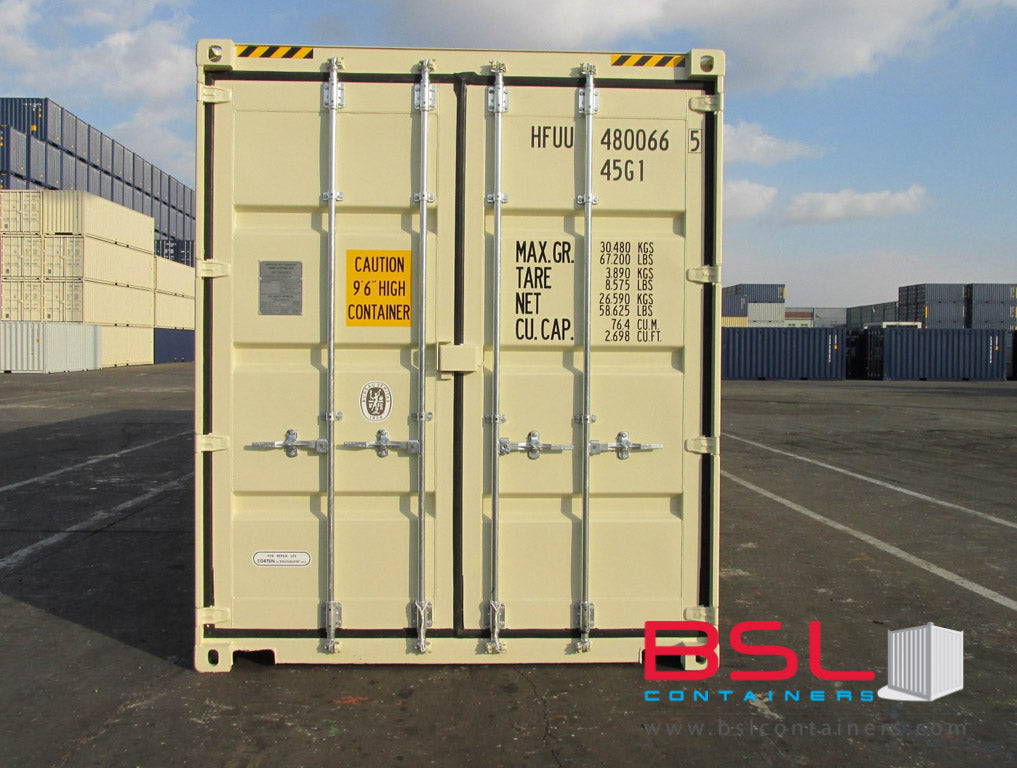 40' High Cube ISO New Build One Trip Shipping Containers in RAL1015 Beige ex Yangon (40'HC) - eSHOP - BSL CONTAINERS